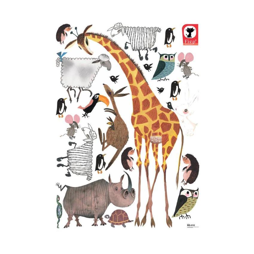 KEK AMSTERDAM Animals Fiep Set Muursticker 85 x 119 cm