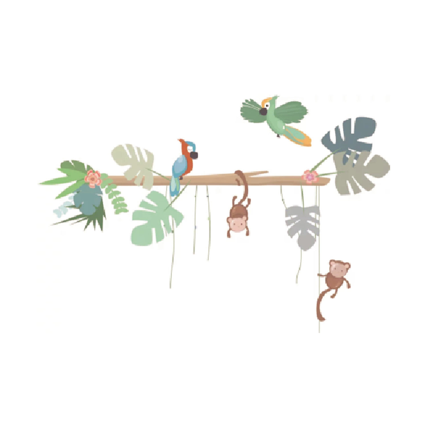 LM Baby Art Jungly Jungle Boomstam Met Papegaai En Aap Muursticker
