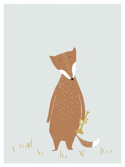 Trixie poster Mr. Fox 30 x 40 cm papier oranje