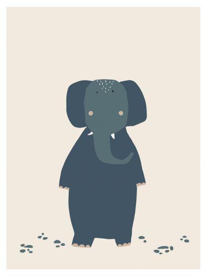 Trixie poster Mrs. Elephant 30 x 40 cm papier blauw