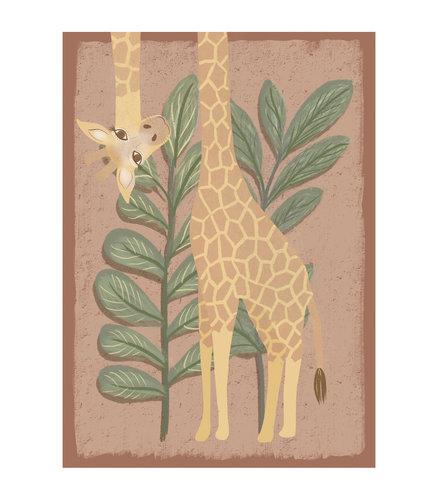 Klein & Stoer Kinderposter giraffe roze