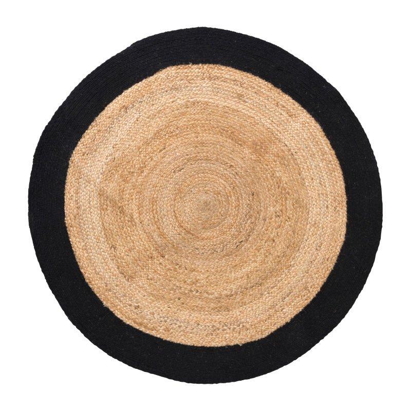 Vloerkleed met rand - zwart - ⌀120 cm
